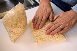 filling tempeh bags